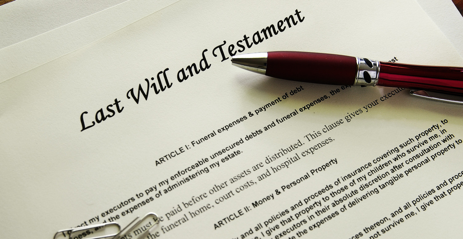 Last Will and Testament documents  with misc items